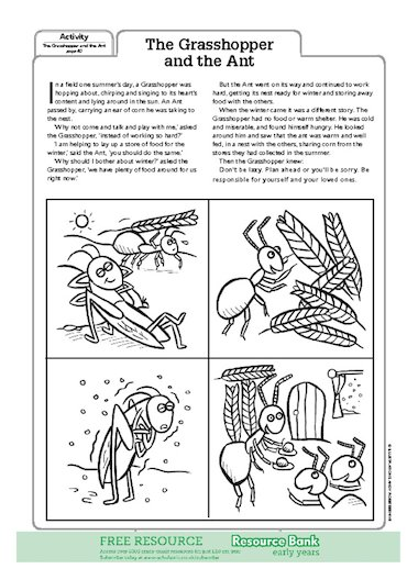 The Grasshopper & the Ant – FREE Early Years teaching resource ...