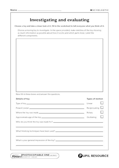 sheet to use when investigating, disassembling and evaluating a real ...