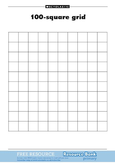 100-square grid to accompany the One Hundred Hungry Ants article on ...