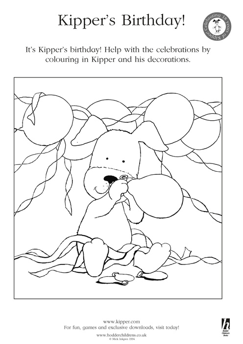 Kipper S Birthday Colouring Scholastic Book Club Kipper The Coloring Pages