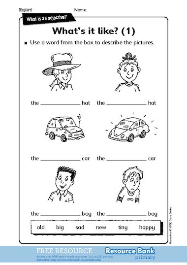 Writing adjectives to describe pictures 1 (KS1)