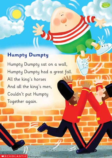 Colourful Illustrated Poster Of The Humpty Dumpty Nursery
