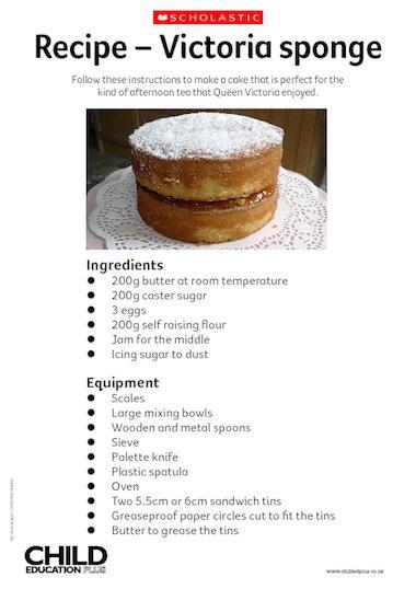 recipe victoria sponge primary ks2 teaching resource