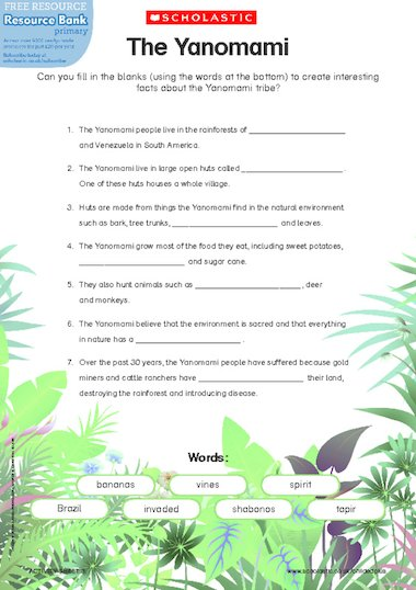 The Yanomami u2013 rainforest fact sheet u2013 FREE Primary KS1 ...