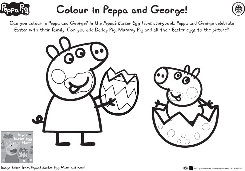 peppa pig easter coloring pages - peppa george easter colouring scholastic kids 39 club