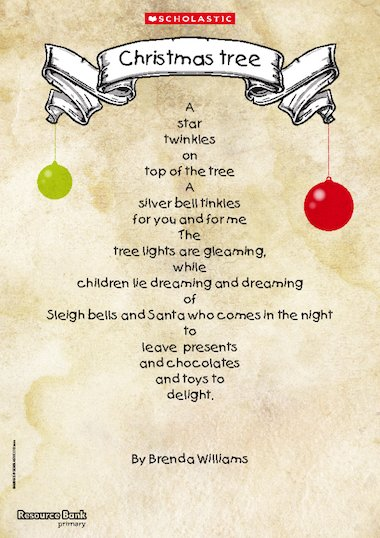 Christmas tree shape poem primary ks1 teaching resource