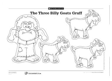 Pictures of the billy goats and the troll for children to cut out and ...