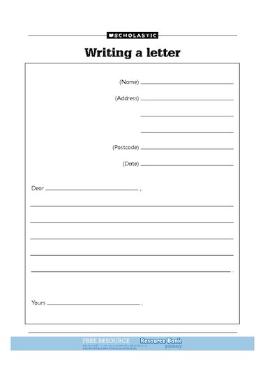 free letter writing template