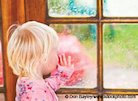 Child looking at weather out window
