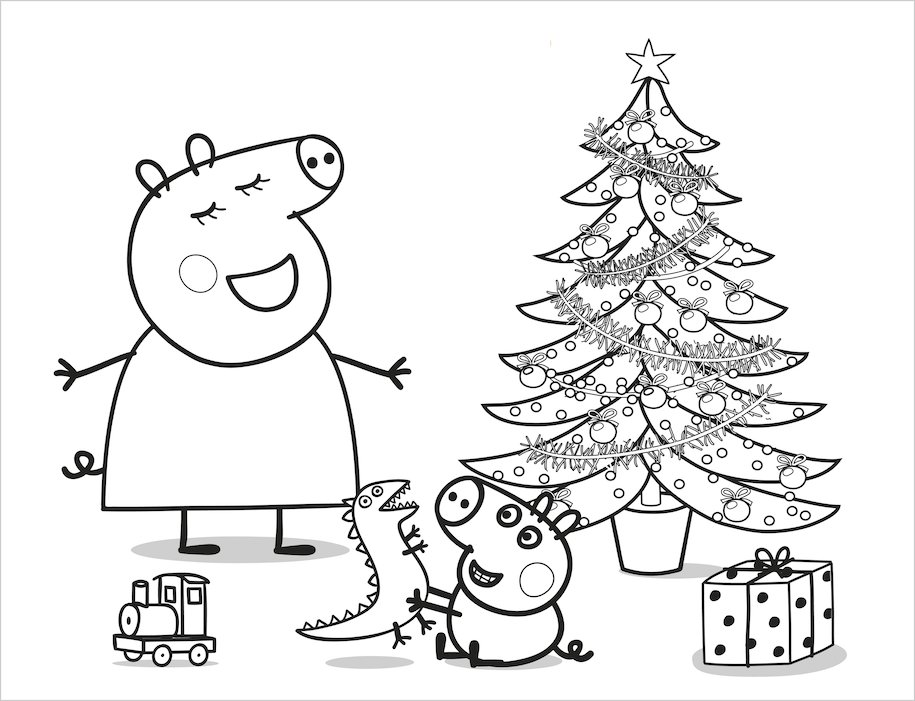 peppa pig christmas coloring pages - photo#6