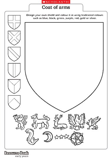 make your own coat of arms template - coat of arms template early years teaching resource