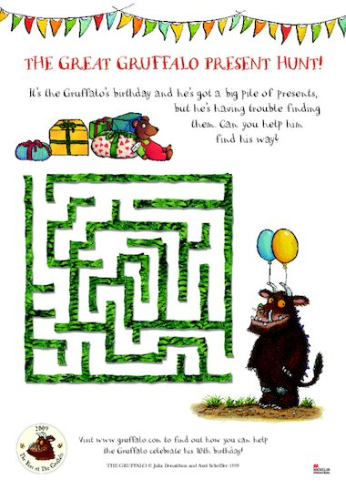 Make your way through the maze to let the Gruffalo get to his birthday ...