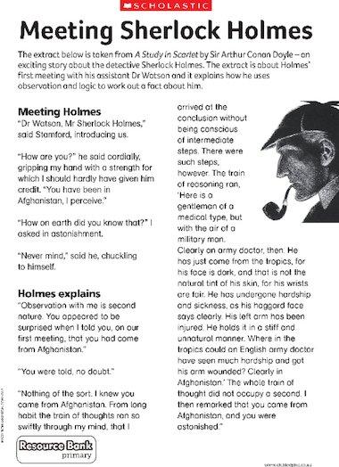 Meeting Sherlock Holmes u2013 Primary KS2 teaching resource - Scholastic