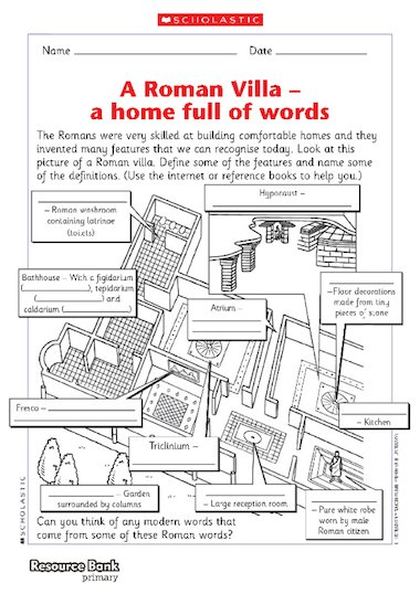 A Roman Villa u2013 vocabulary u2013 Primary KS2 teaching resource ...