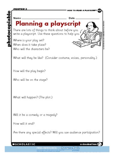 Playscript planner free primary ks2 teaching resource for Script writing template for kids