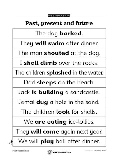 ... using past, present and future tenses with this set of sentences