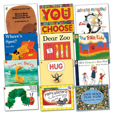 Picture of titles for the nursery reading spine