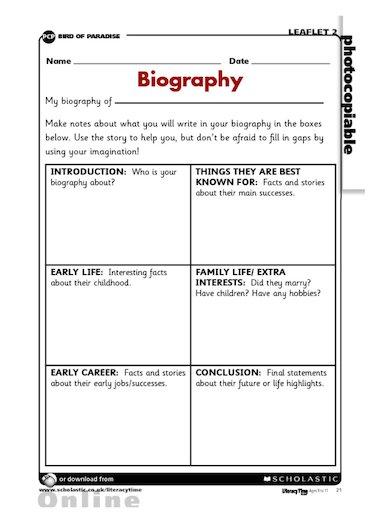 Mini Biography Writing Frame