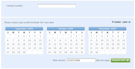 Screenshot of online calendar