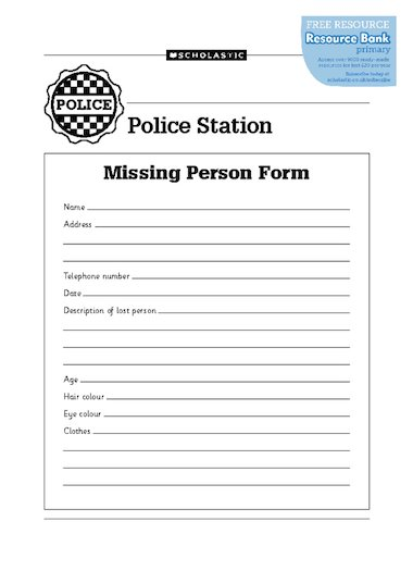 police missing person template .
