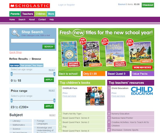 Screenshot of the online Scholastic Shop