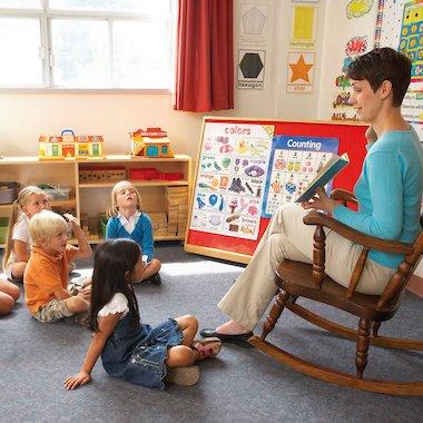 Teacher reading to her class