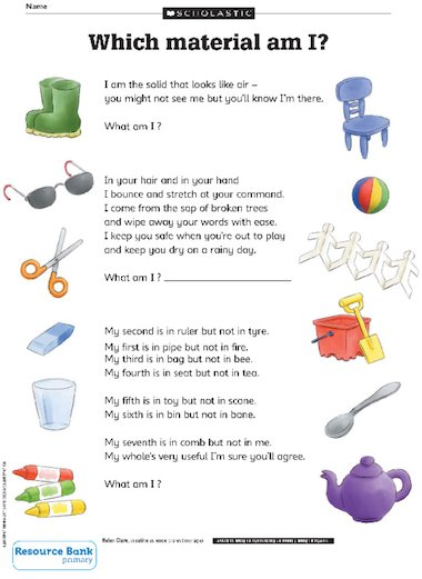 Science Riddles Which Material Am I Primary KS2
