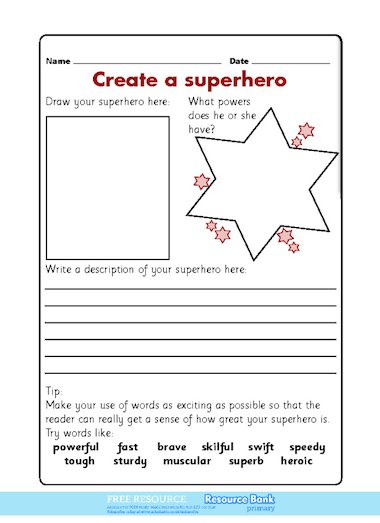 ... and describe a superhero character, including descriptive adjectives