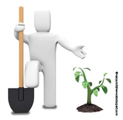 Graphic of man with large spade stood next to small tree