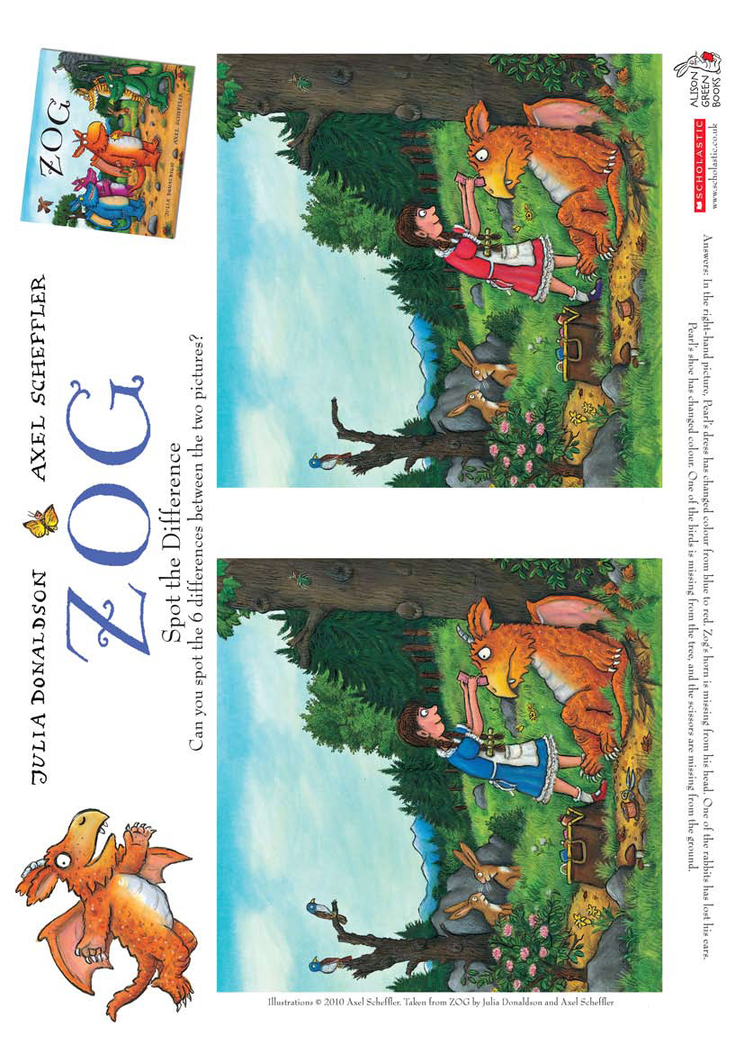 Zog spot the difference - Scholastic Kidsu0026#39; Club