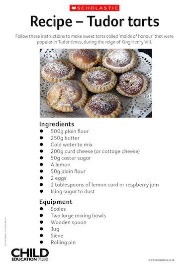 Recipe – Tudor tarts – Primary KS2 teaching resource - Scholastic