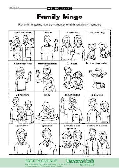 Family bingo u2013 FREE Early Years teaching resource - Scholastic