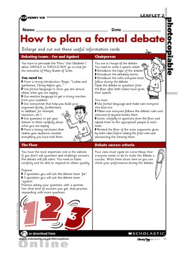 Use these useful information cards to help structure a formal debate