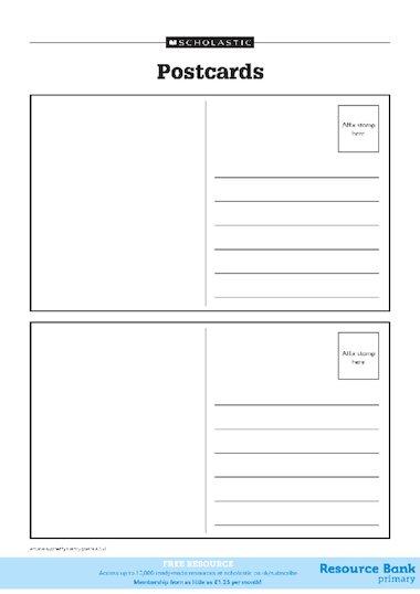 how to write a postcard ks1