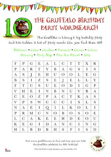 Gruffalo wordsearch – Primary KS1 teaching resource - Scholastic