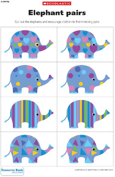 Elephant pairs u2013 Early Years teaching resource - Scholastic