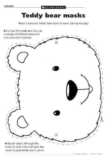 Teddy Bear Face Template Teddy bear masks