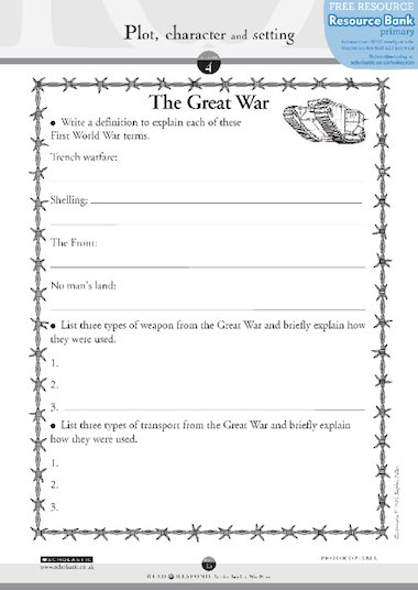 war horse the great war free primary ks2 teaching resource scholastic. Black Bedroom Furniture Sets. Home Design Ideas