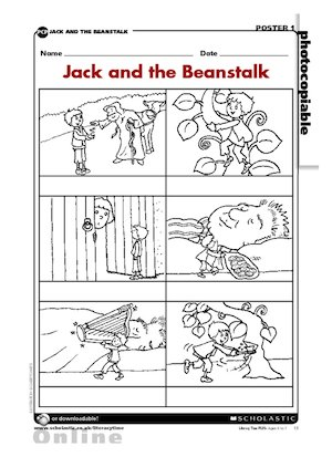 Cut out these 'Jack and the Beanstalk' pictures, compose sentences ...