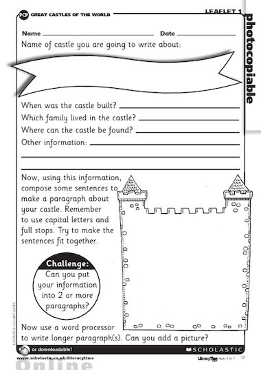 Use this activity sheet to create a fact sheet about a castle. The ...