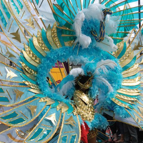 Notting Hill Carnival colourful costumed dancer