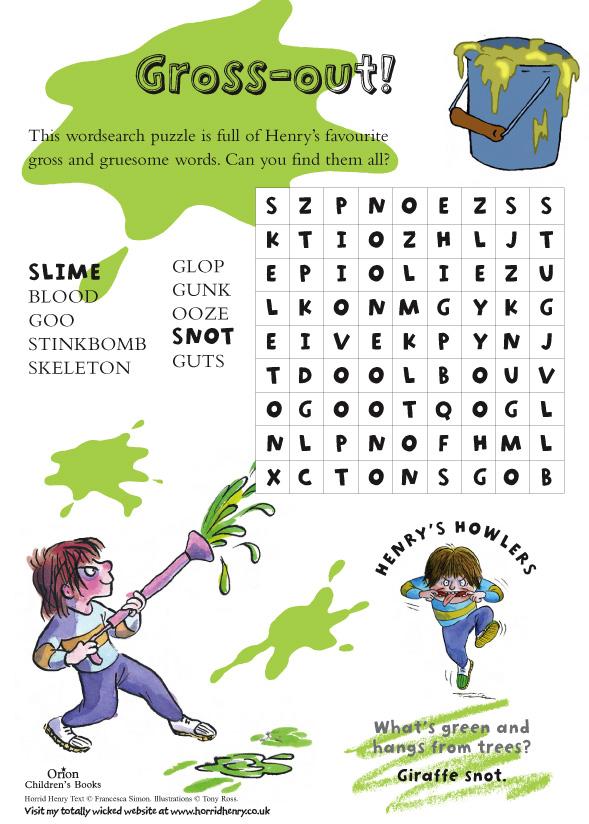 Horrid Henry Grossout Wordsearch Scholastic Kids Club