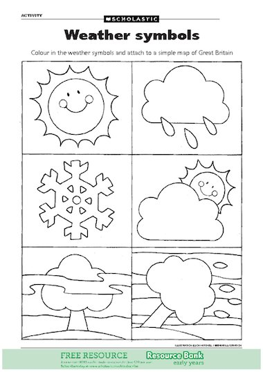 weather symbols free early years teaching resource scholastic. Black Bedroom Furniture Sets. Home Design Ideas