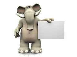 Illustration of elephant holding sign