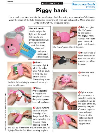 Make A Piggy Bank Primary Ks2 Teaching Resource Scholastic