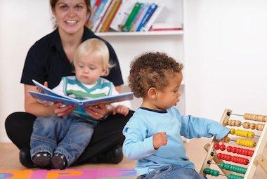 Childminder with children