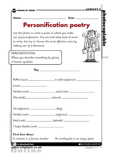 Poetry homework ks2