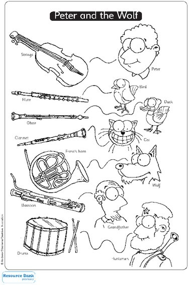 Peter and the wolf primary ks1 teaching resource for Sound of music coloring pages