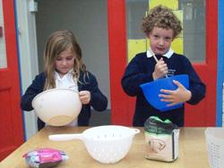 Schoolchildren cooking