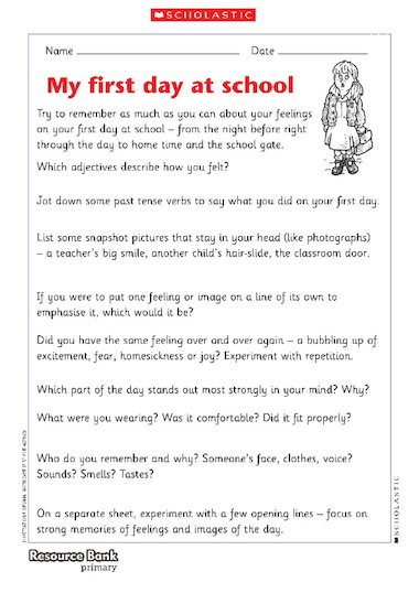 essay first day in primary school A creative story about a pencil's first day following its owner to school pages 2 words 617 view full essay more essays like this: sign up to view the complete essay show me the full essay show me the full essay view full essay this is the end of the preview.